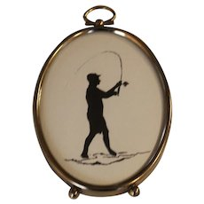Fly fishing Silhouette Miniature Print
