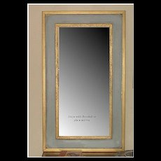 Mirror in Blue with Gold Rectangle Border