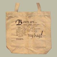 Canvas Shopping Tote Bear Bag