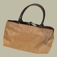 Brown Herringbone Purse or Make Up Bag