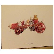 Firetruck Lithographs (6), Motorized Steamer, Hand-drawn Pumper, Hose Car,
