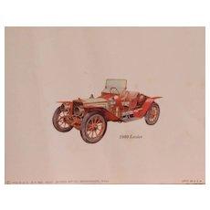 Cars-Vintage Lozier-Palmer-Singer Lithograph Print-Watercolor-Art