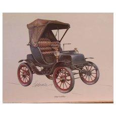Automobile Lithographs (3)-Biederman Vintage Cars-Itala-1904 Cadillac