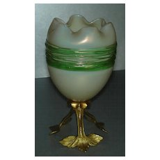 Elegant Opalescent Egg Shaped Vase w/ Green Threading