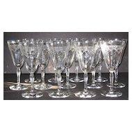 Fostoria 5082 Richmond Etch 74 Water Glasses, set of 13