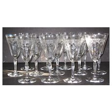 Fostoria 5082 Richmond Etch 74 Water Glasses, set of 13