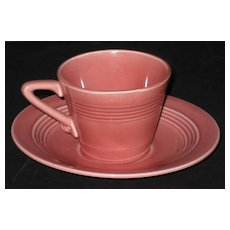 Homer Laughlin Harlequin Demitasse cup & saucer – Rose