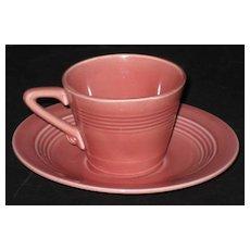 Homer Laughlin Harlequin Demitasse cup & saucer – Rose