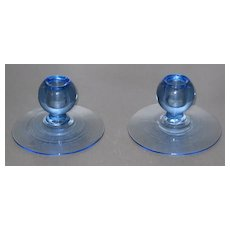 Tiffin 6364 candleholders in Copen Blue