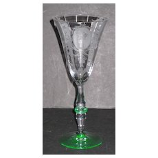 Tiffin 15003 Stem Water Glass with Psyche etch
