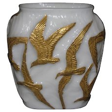 Consolidated Seagulls Vase, Milk Glass with Gold decoration