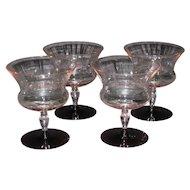 Utility Glass Works Nilotus Sherbet Glasses, set of 4