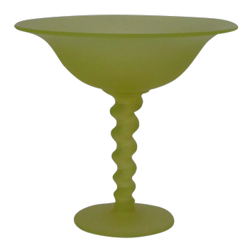 Tiffin #315 Canary satin glass compote
