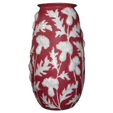 Phoenix Thistle vase in Burgundy/Red on Milk Glass