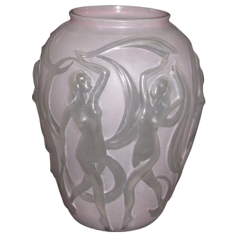 Phoenix Dancing Girls vase, pink wash on crystal