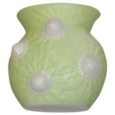 Phoenix Jewel  vase in Chartreuse/Green on Milk Glass