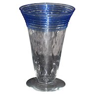 Steuben Footed Iced Tea Glasses with blue threading