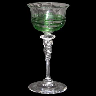 Steuben #6404 Wafer/Twist stem wine glass with green threading