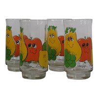 Anchor Hocking Smiling Fruit glasses, set of 4