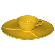 Homer Laughlin Rhythm Yellow Snack plate and cup