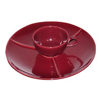 Homer Laughlin Rhythm Maroon Snack plate and cup