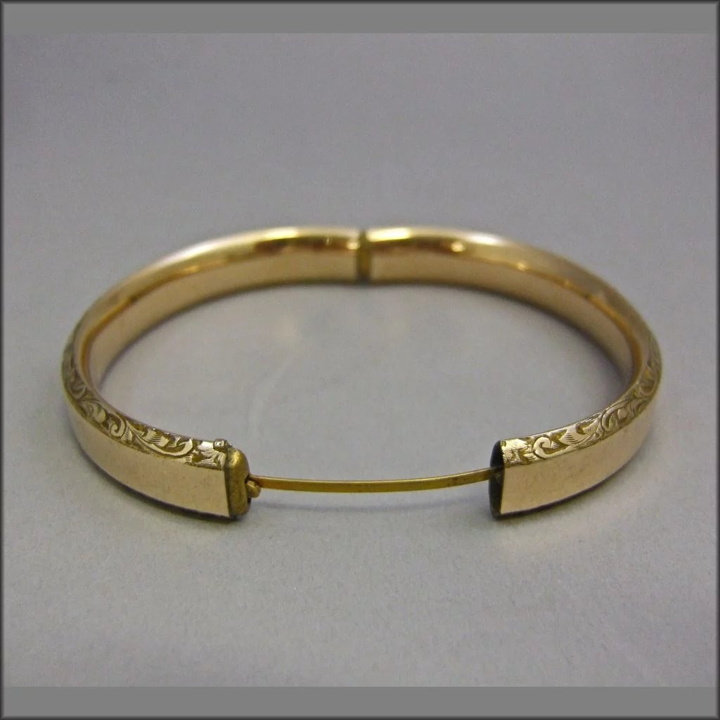 engraved bangle gold bracelet bangles inches child baby band victorian hinged co childs filled m s l
