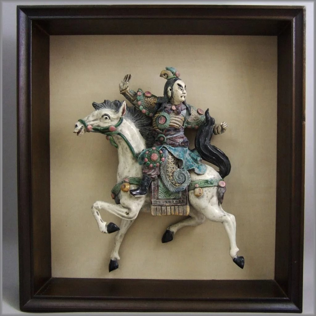 Chinese Glazed Pottery Roof Tile Figure In Shadow Box
