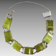 "Art Deco Green Jade and Silver 7.6"" Bracelet"