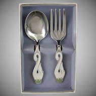Lunt Silver Plated White Swan Infant Spoon & Fork Set