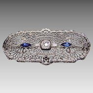 10K White Gold & Diamond Filigree Brooch