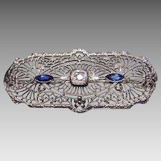 10K White Gold & Diamond Filigree Brooch