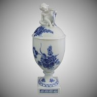 Royal Copenhagen  Porcelain Blue Flowers Blaue Blume 282 Vase with Lid & Putti Cherub