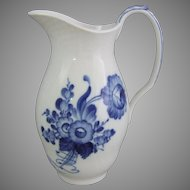 Royal Copenhagen Danish Porcelain Blue Flowers Blaue Blume  Milk Jug Pitcher 7.65 Inches Tall