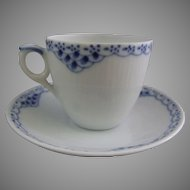 Royal Copenhagen Porcelain Blue Fluted Princess Cup and Saucer Set