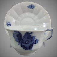 Royal Copenhagen Porcelain Blue Flower Angular Blaue Blume Cup & Saucer Set