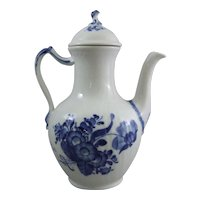 Royal Copenhagen Denmark Porcelain Blue Flower Curved Blaue Blume Coffee Pot