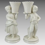 Belleek Irish Porcelain Basket Bearer Boy & Girl Mantle Vases
