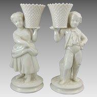 Belleek Irish Porcelain Basket Bearer Boy & Girl Mantle Vases