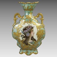 French Art Nouveau Paris Porcelain Portrait Vase