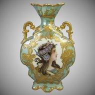 French Art Nouveau Paris Porcelain Portrait Vase