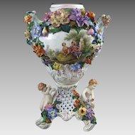 Carl Thieme Potschappel Dresden Porcelain Urn with Putti