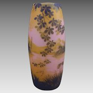 DeVez Scenic Landscape Cameo Glass Vase