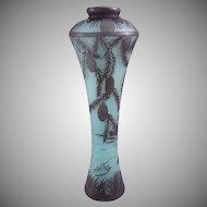 DeVez Cristallerie de Pantin Cameo Glass Landscape Vase