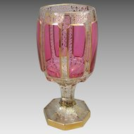 Moser Ruby Cabochon Decorated Glass Wine Chalice