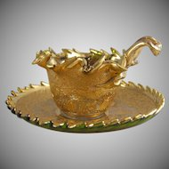 Moser Karlsbad Islamic Gold Filigree Cup & Saucer Set with Tooled Rims