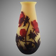 Muller Freres Luneville French Cameo Red Poppy Vase