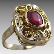 585 14K Heavy Gold Filigree Lab Ruby Ring