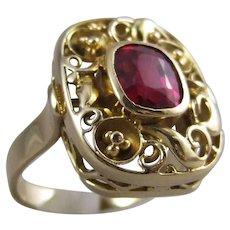 585 14K Heavy Gold Filigree Lab Ruby Ring
