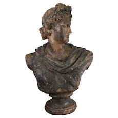 19th Century Continental Plaster Bust after the Pythian Apollo
