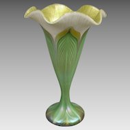 Quezal 7.5 in.  Decorated Flower Form Vase